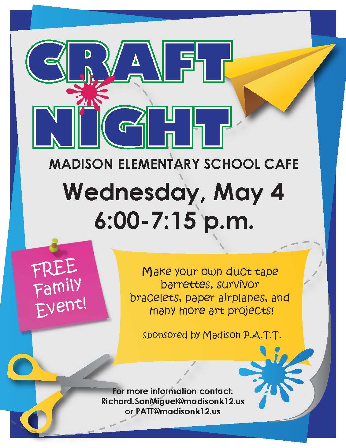 Madison School DistrictUpcoming Events | | P.A.T.T. Craft Night