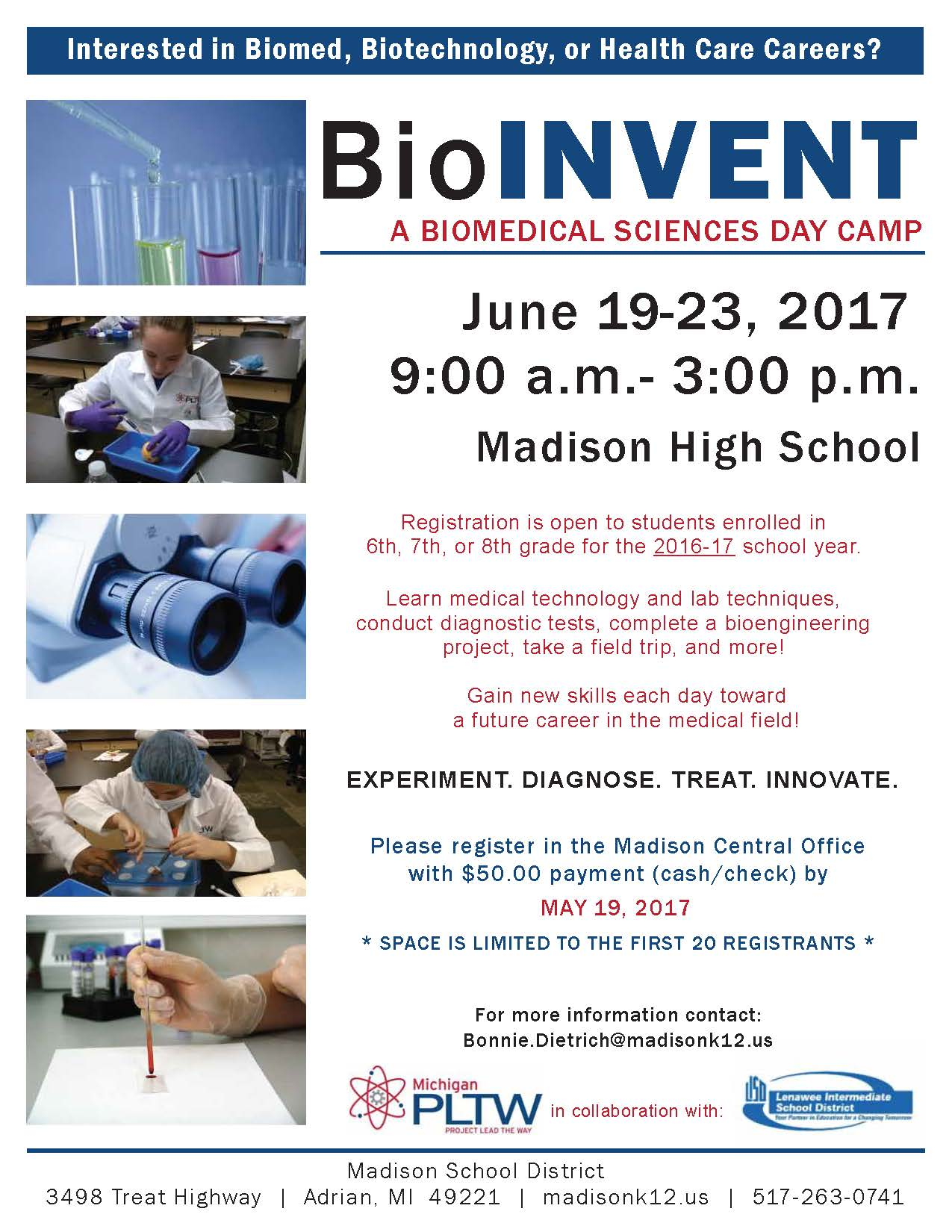 Madison School District | BioInvent Summer Camp Registration is ...