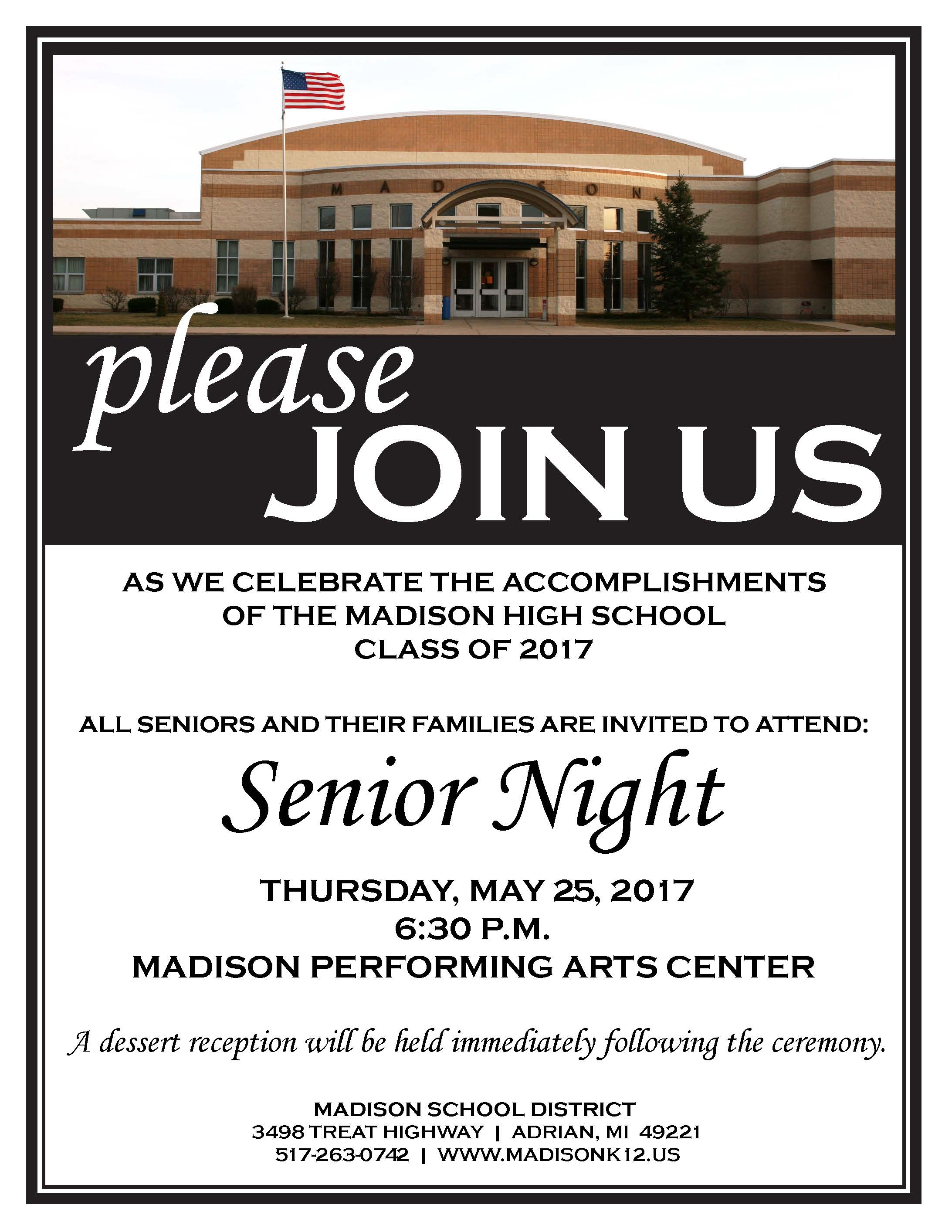 Madison School DistrictUpcoming Events | | Senior Night