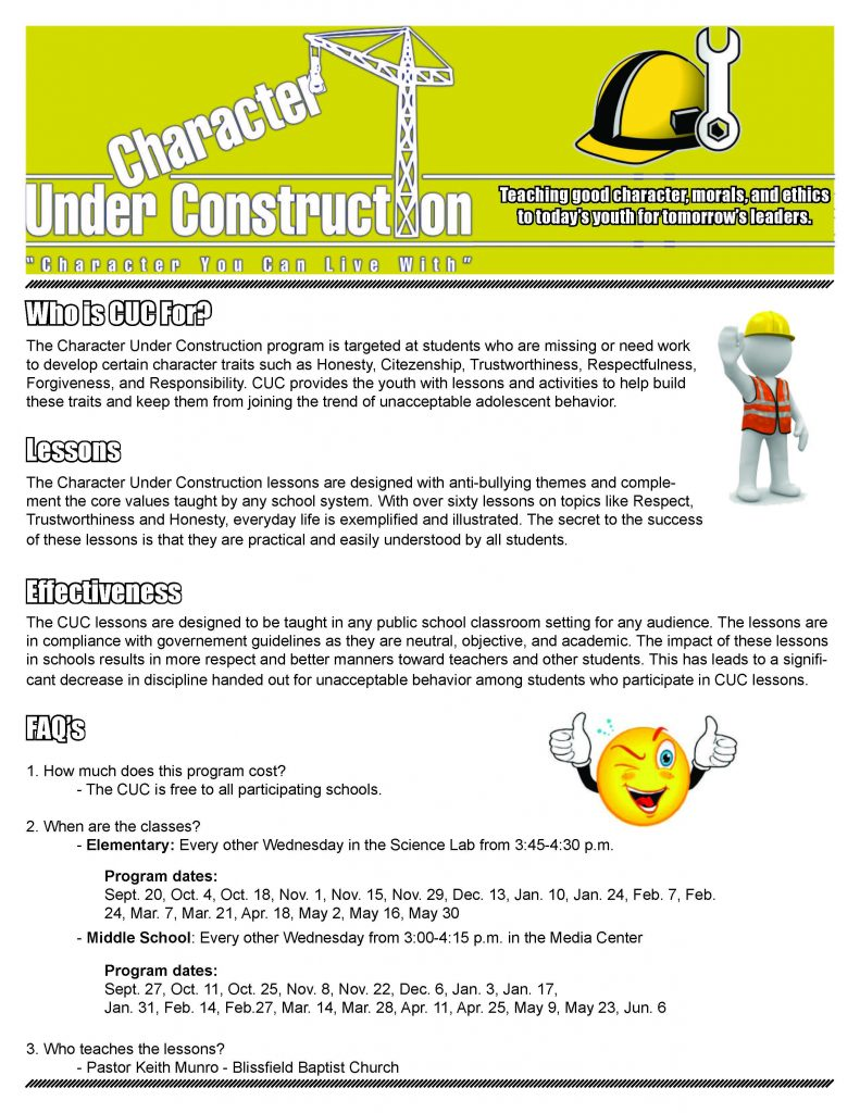 Character Under Construction flyer